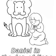 Daniel Prostrated In Front Of God And The Lions Den Coloring Page