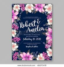Wedding Invitation Card With Abstract Floral Background