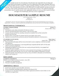 Free Sample Resume Housekeeping Supervisor Examples For Example Of Aide Hotel