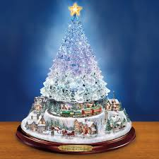 Thomas Kinkade Christmas Tree Village by The Thomas Kinkade Color Changing Crystal Tree Hammacher Schlemmer