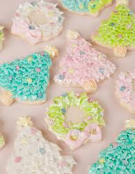 Pastel Christmas Trees And Wreaths