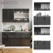 vicco küchenzeile single einbauküche 140 cm küchen hochglanz fame line