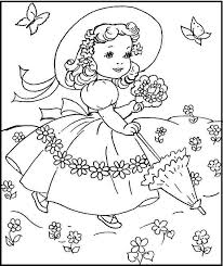 Princess In The Garden On Spring Day Coloring Pages For Kids D78