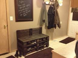 Rustic Foyer Bench Shoe Storage Railing Stairs And Kitchen Throughout Entryway With Prepare