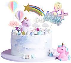 aotwan einhorn tortendeko geburtstag kuchen kinder einhorn kuchen topper 27er set einschließlich einhorn happy birthday wolke sterne 3d