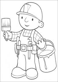 Bob The Builder Preparing To Paint Coloring Pages For Kids Printable