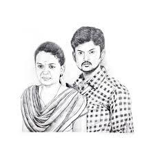 couple pencil sketch portrait