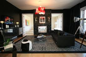 Elegant Dark Wall And Furniture For Mens Small Apartment Decorating Ideas With Red Pendant Lights Patterned Carpet