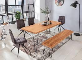 esstisch bagli massivholz akazie 200 x 76 x 80 cm esszimmer tisch küchentisch modern landhaus stil holztisch mit metallbeinen dunkel braun
