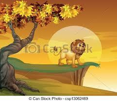 A Lion Near The Mountain Cliff Vector