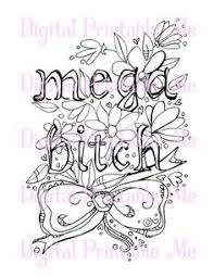 Swear Word Coloring Book Page Printable Mega Btch Mature Download Curse Cuss Adult Colouring Words Sheet