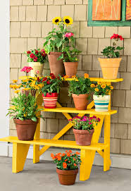 Patio Plant Stand Uk by Creative Idea Diy Brown Old Wooden Garden Ladders Design With