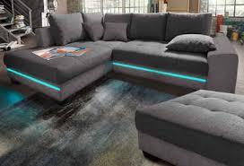 via ecksofa wahlweise mit kaltschaum 140kg belastung sitz bettfunktion mit rgb led beleuchtung wahlweise mit bluetooth soundsystem