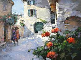 Village Lane In Provence Alexi Zaitsev European City Landscape Picture Girl Balcony Flowers