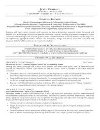 Sample Teachers Resume Teacher Examples Bay Area Center For Training Resumes