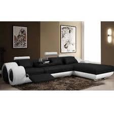 canape d angle noir et blanc canapé d angle cuir relax noir et blanc vilnus achat vente