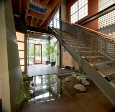 100 Glass Modern Houses Azdarch Indoor Water Feature Pond Below Stairs With Glass