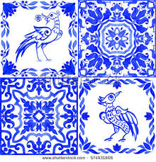 portuguese azulejo tiles blue white gorgeous stock illustration