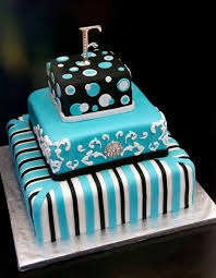 Funky Turquoise Black White Wedding Cake