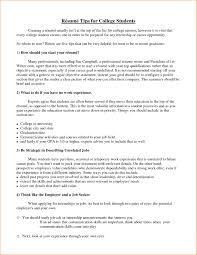 A Good Resume For College Student Basic Job Appication Examples Students