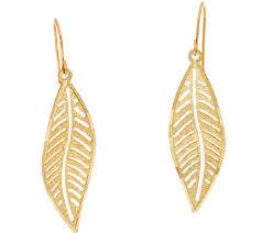 14K Gold Diamond Cut Leaf Design Dangle Earrings — QVC