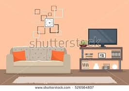 Living Room In Orange Color With A Sofa And Home Cinema There Is