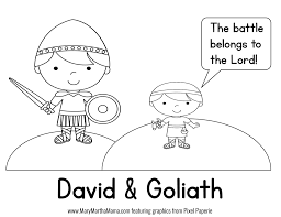 David And Goliath Coloring Page Sheet Free Book