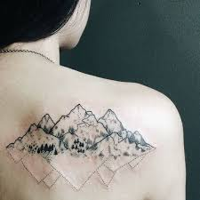 This Ones Shows A Back Mountain Tattoo With Two Sides One Roughness And Details