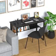 cheflaud computertisch schreibtisch esstisch stabil platzsparend laptop tisch schreibtisch mit regal schwarz