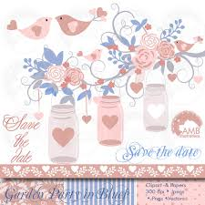 Rustic Wedding Clipart Floral In Blue Mason Jars