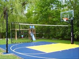 residential sport backyard court contemporary landscape