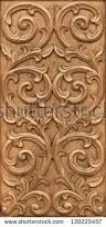pattern flower carved on wood background stock photo 130225457