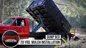 Echo Bed Redefiner by 20 Yrd Mulch Install Using The Dump Bed Youtube