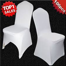 Amazing 100 Pcs Universal White Stretch Polyester Wedding Party Spandex Pertaining To Banquet Chair Cover Ordinary Dining Room