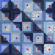 Blue and Red Log Cabin Quilt 25 blocks Yay ly 11 more …
