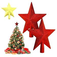 Christmas Tree Toppers Home Decoration Supplies Office Topper Silver Gold Red Powder Star