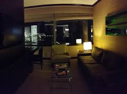 living room looks cool but the dim lighting makes it a fairly
