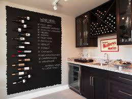 Creative Kitchen Wall Decor As Wine Handles And Unique Black Board Near Long Rack