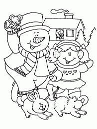 Winter Coloring Pages Printable Free Snowman Kid Within For Christmas And