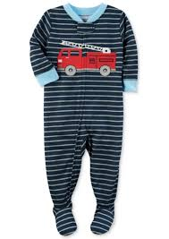 Carter's Carter's 1-Pc. Striped Firetruck Footed Pajamas, Baby Boys ...