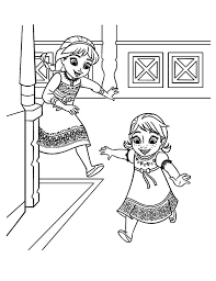 Young Elsa And Anna Coloring Pages