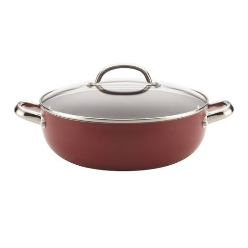 Farberware Buena Cocina Aluminum Nonstick Covered Caldero/Casserole, 6.5-Quart, Red