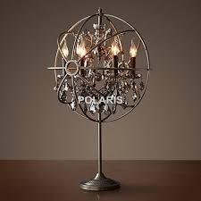 Factory Outlet Vintage Crystal Candle Lighting Rustic Matt Black Orb Table Lamp Desk Lights For Home