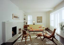 Mid Century Modern Rustic Living Room Contemporary With White Fireplace Mantel Diamond Pattern Rug Furniture