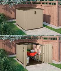 utility 4 4 ft w x 2 7 ft d plastic horizontal garbage shed d