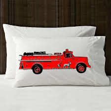 Red Firetruck Pillowcase Pillow Cover Case Bedding Kids Room Decor