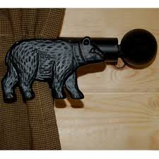 Black Bear Curtain Rod And Bracket Set