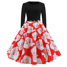 Women Santa Christmas Dress 2018 Hepunrn Style Pin Up Swing Party