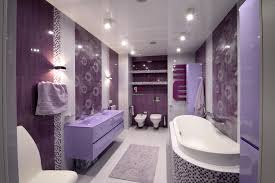 Purple Decorative Towel Sets by Luxurious Bath Tub Front Cute Washbasin Near Twin Lighting In