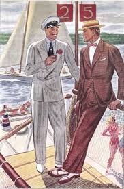 Summer Worsted Suits Vintage 1930s Light Grey Double Breasted Brown Tweed Spectators Boater Sailing